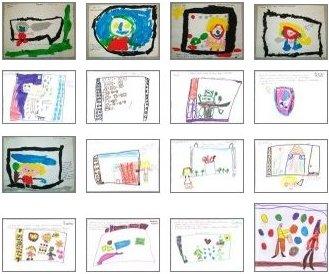 Desenhos dos alunos do pré-escolar
